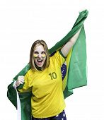 Brazilian fan celebrates isolated on white background