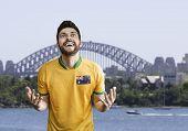 Australian fan celebrates in Sydney, Australia