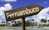 Pernambuco wooden sign on the beach background