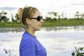 Tourist appreciate the view of Mato Grosso in the Pantanal, Brazil