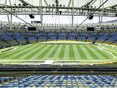 RIO DE JANEIRO, BRAZIL - CIRCA NOV 2013: The new Maracana Stadium on November 03, 2013 in Rio de Janeiro, Brazil. Maracana was remodelled for the 2014 World Cup.