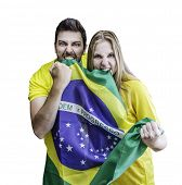 Brazilian fans celebrates on white background