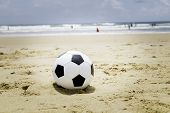 Soccer ball on the beach