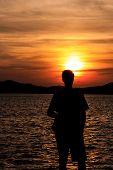 Sillhouete at sunet in Zadar
