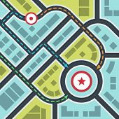 stock photo of indecent  - Abstract Simple City Map with Pins and Ways in Flat Style - JPG