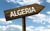 pic of algiers  - Algeria wooden sign on a beautiful day - JPG