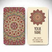 Set business card. Vintage decorative elements. Hand drawn background.