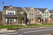 Row Of New Homes In Wilsonville Oregon.
