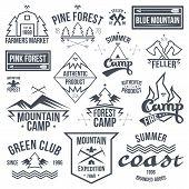 Set Of Retro Vintage Camping Badges