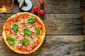Pizza With Bacon, Mozzarella And Spinach