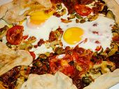 Pizza With Fried Egg. Close-up