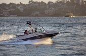 Friends take a fast boat ride