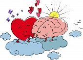 Heart and brain Cartoon vector