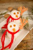 picture of christmas meal  - Funny rice snowmen a kid meal for Christmas - JPG