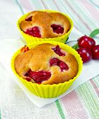 Cupcakes with cherries on napkin