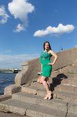Girl On A Granite Embankment