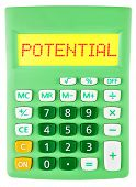 Calculator With Potential On Display Isolated