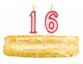 image of sweet sixteen  - birthday cake with candles number sixteen isolated on white background - JPG