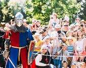 Historical Restoration Of Knightly Fights. Knight Posing For Spectators.