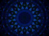 Geometric abstract blue pattern on black background
