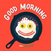 Good morning - smiling face make with fried eggs