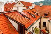 Red Tiled Roofs In Lesser Town, Prague, Czech Republic