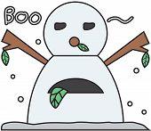vector winter snowman face cartoon emotion expression boo
