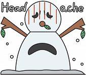vector winter snowman face cartoon emotion expression stress