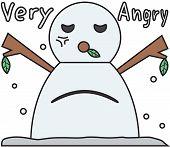 vector winter snowman face cartoon emotion expression anger