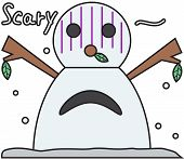 vector winter snowman face cartoon emotion expression scary