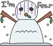 vector winter snowman face cartoon emotion expression fear