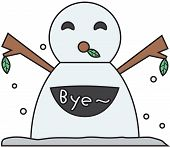 vector winter snowman face cartoon emotion expression bye