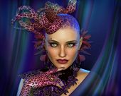 picture of fascinating  - 3D computer graphics of a Portrait of a Lady with Animal Print Fascinator and Gloves - JPG