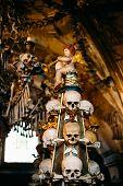 Old Bones And Skulls In Sedlec Ossuary (kostnice), Kutna Hora, Czech Republic. Interior Decoration