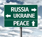 Russia, Ukraine, Peace sign on a cloudy background