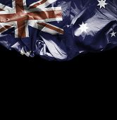 Australia waving flag on black background