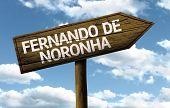 Fernando de Noronha, Brazil wooden sign on a beautiful day