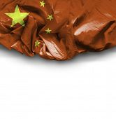 China waving flag on white background