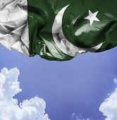 Pakistan waving flag on a beautiful day