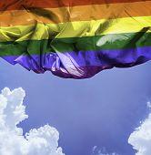 LGBT waving flag on a beautiful day