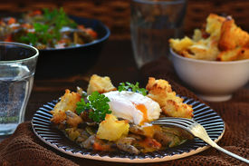 foto of posh  - mushroom ragout with poshed egg also croutons  - JPG