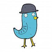 picture of bluebird  - cartoon bluebird wearing hat - JPG