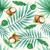 foto of exotic_food  - Exotic fruits seamless pattern watercolor vector illustration - JPG