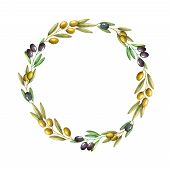image of olive branch  - Watercolor olive branch wreath - JPG