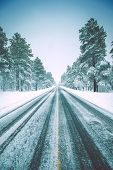 picture of icy road  - Icy Winter Road in American Southwest - JPG
