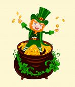 pic of pot gold  - Cheerful Patrick on the pot of gold - JPG