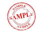 pic of mustering  - Stamp with word sample inside vector illustration - JPG