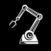 picture of robotics  - vector robotic arm symbol icon - JPG