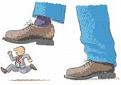 image of stomp  - an illustration with foot stomping a man - JPG