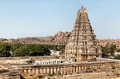 Picture of stone temple of hampi town.